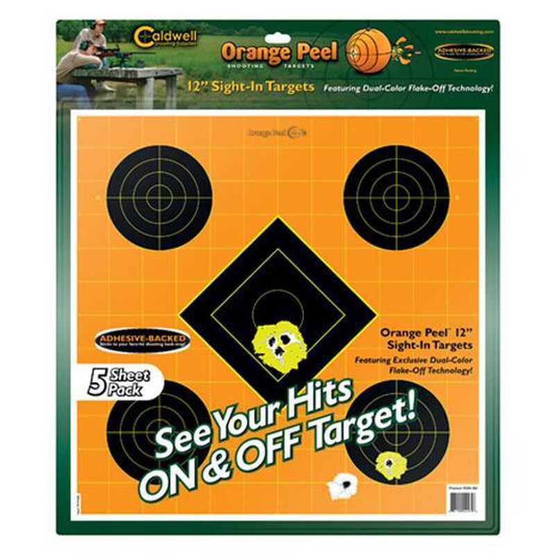 "Orange Peel Targets 12"" Sight In Targets Five Targets per Sheet Package of 5 Sheets"