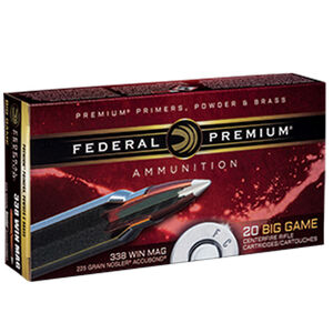 Federal Premium Nosler .338 Winchester Magnum Ammunition 20 Rounds 225 Grain Nosler Accubond 2800fps