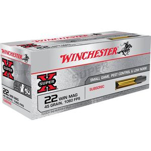 Winchester Super X Subsonic .22 Magnum Ammunition 50 Rounds LHP 45 Grains X22MSUB