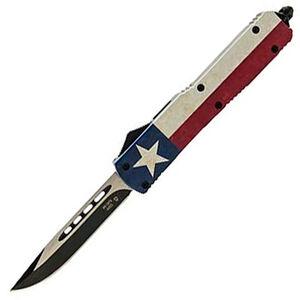 "Templar Knife Slim Captain OTF Knife 3.5"" Black SS Plain Drop Point Blade OTF Push Button Opening Pocket Clip Glass Breaker Aluminum Handle"