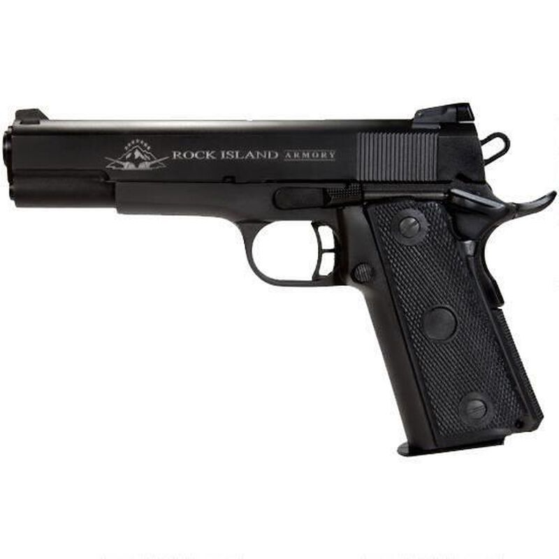 "Rock Island Armory TCM Series Standard FS Combo 1911 Semi Auto Handgun .22 TCM / 9mm Luger 5"" Barrel 17 Rounds Parkerized Steel Frame Polymer Grips Matte Black"
