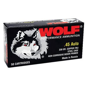 Wolf Polyformance .45 ACP Ammunition 230 Grain Bi-Metal FMJ Steel Case 850 fps