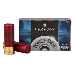 "Federal Power-Shok 12 Gauge Ammunition 5 Rounds 00 Buckshot 2 3/4"" 9 Pellets 1,325 Feet Per Second"