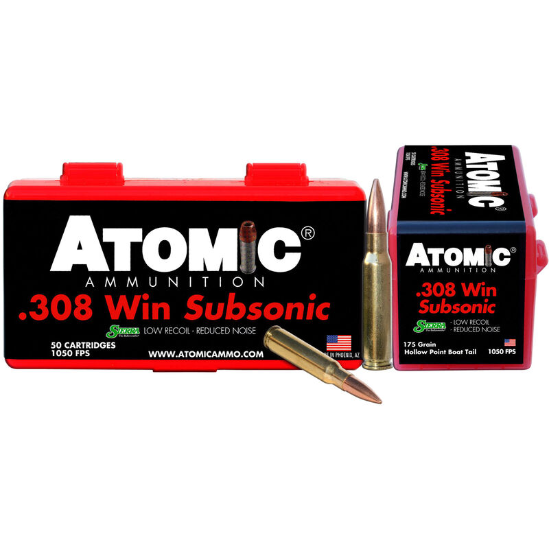 Atomic Subsonic  308 Winchester Ammunition 50 Rounds 175 Grain Sierra  MatchKing Boat Tail Hollow Point 1050fps