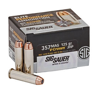 SIG Sauer .357 MAG 125 Grain V-Crown JHP 20 Round Box