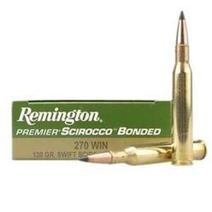Ammo .270 Win Remington Premier Swift 130 Grain Scirocco Bonded 3060 fps 20 Round Box PRSC270WA