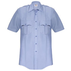 Elbeco Paragon Plus Men's Short Sleeve Shirt Small Polyester Cotton Blue
