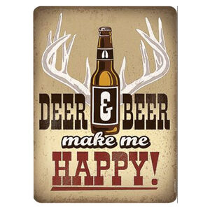 "Open Road Brands Deer and Beer Make Me Happy Tin Sign 13""H x 9.5""W Embossed"