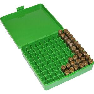 MTM Case-Gard P-100 Original Series Flip Top Handgun Ammo Box 9mm/.380 100 Round Capacity Polymer Green P-100-9-10