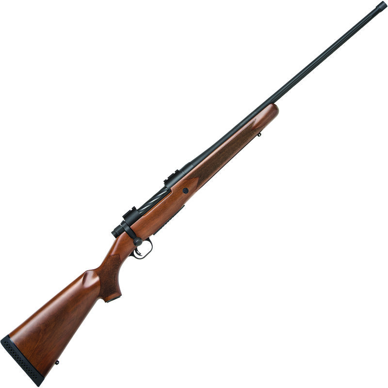 "Mossberg Patriot Walnut .338 Win Mag Bolt Action Rifle 24"" Fluted Threaded Barrel 3 Rounds Walnut Stock Matte Blued Finish"