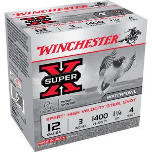 """Winchester Super X Xpert Steel 12 Gauge Ammunition 250 Rounds 3"""" #4 Steel 1.25 Ounce WEX123H4"""