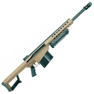 "Barrett M82A1 Scope Combo Semi Auto Rifle .50 BMG 20"" Fluted Barrel 10 Rounds Flip Up Iron Sights Bipod Barrett Muzzle Brake Cerakote FDE Finish"