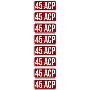 """MTM Ammo Caliber Labels .45 ACP 8 Pack 2.25""""x1.08"""" Red and White"""