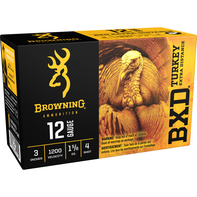 """Browning BXD Turkey 12 Gauge Ammunition 100 Rounds 3"""" #4 Plated Lead 1.625 Ounce B193412032"""