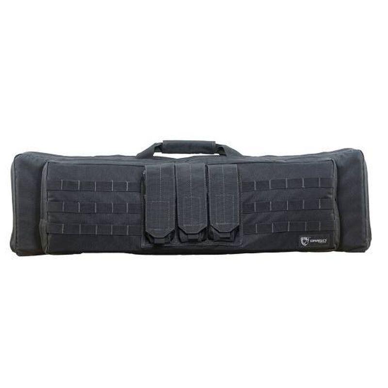 "DRAGO Gear XT Double Gun Case 36.25""x11""x4.5"" Thick Padded Divider Internal Pistol/Pistol Magazine Pouch MOLLE Webbing Black 12306BL"