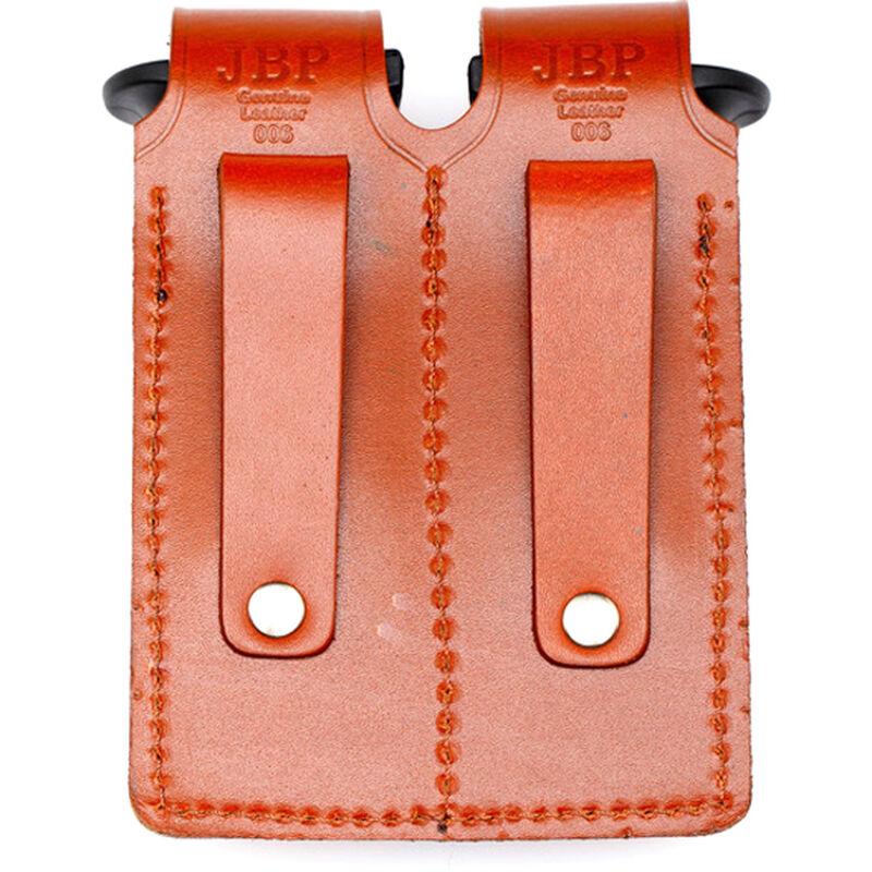 "JBP Double Magazine Case  Black Leather 2"" Belt Loops for GLOCK Style Magazines"