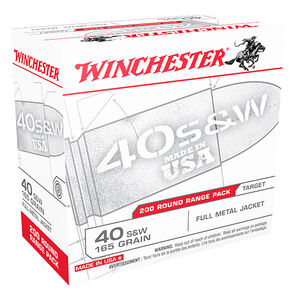 Winchester USA .40 S&W Ammunition 200 Rounds, FMJ, 165 Grain