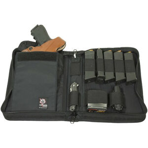 DeSantis Miles-Hi Compact Gear Bag Full Sized Pistol Case with 5 Magazine Holders and Accessory Loops Nylon Black