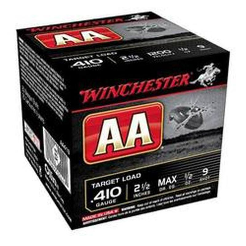 """Winchester AA Target .410 Bore Ammunition 250 Rounds 2.5"""" #9 Lead 1/2 Ounce AA419"""