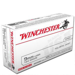 Winchester USA 9mm Luger Ammunition 50 Rounds, FMJ, 124 Grains