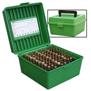 MTM Case-Gard Deluxe R-100 Series Rifle Ammo Box Medium Holds 100 Rounds Green R-100-10