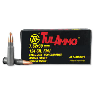 TulAmmo 7.62x39mm Ammunition 40 Rounds Steel FMJ 124 Grains UL076209