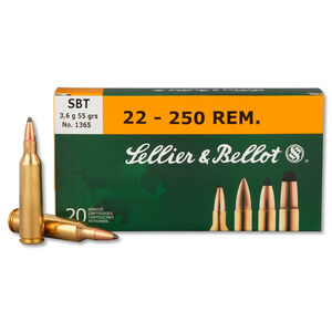 Sellier & Bellot .22-250 Remington Ammunition 20 Rounds Sierra SPTZ BT 55 Grains SB22250A