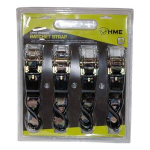 HME Products Ratchet Strap 4 Pack Rubber Coated S Hook Camo