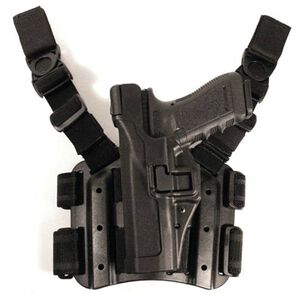BLACKHAWK! Serpa Glock 17, 19, 22, 23, 31, 32 Level 3 Tactical Holster Nylon/Polymer Left Hand Black 430600BK-L