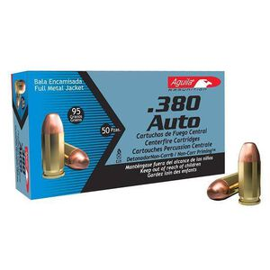 Aguila .380 ACP 95gr FMJ 945 fps 50 Rounds