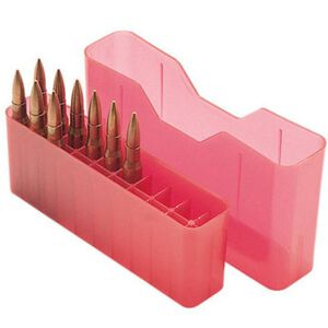 MTM Case-Gard J-20 Series Rifle Ammo Box Extra Small Rifle Holds 20 Rounds Clear Red J-20-XS-29