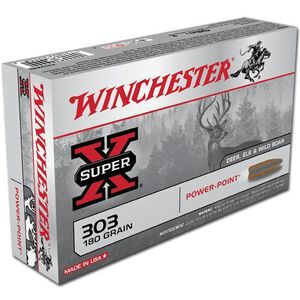 Winchester Super X .303 British Ammunition 20 Rounds JSP 180 Grains X303B1