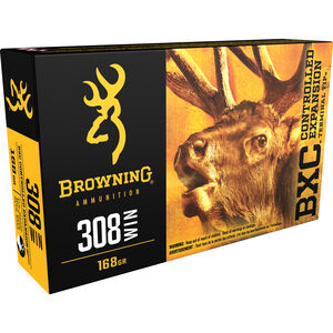 Browning BXC .308 Winchester Ammunition 168 Grain Bonded Terminal Tip 2820 fps