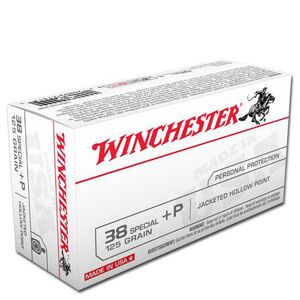 Winchester USA .38 Special +P Ammunition 50 Rounds, JHP, 125 Grains