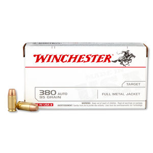 Winchester USA .380 ACP Ammunition 95 Grain FMJ 955 fps 50 Rounds