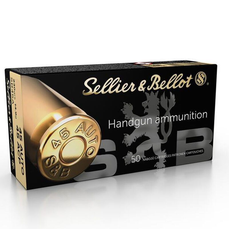 Sellier & Bellot .45 ACP Ammunition 230 Grain Jacketed Hollow Point 889 fps