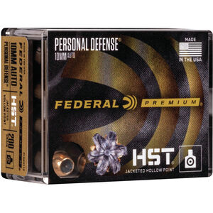 Federal Personal Defense HST 10mm Auto Ammunition 20 Rounds 200 Grain HST JHP 1130fps