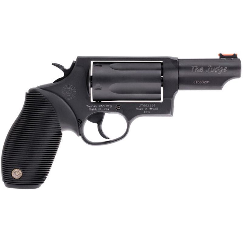 "Taurus Judge .45 Long Colt/.410 Bore Double Action Revolver 3"" Barrel 2.5"" Chamber 5 Rounds Fiber Optic Front Sight Taurus Ribber Grip Matte Black Oxide Finish"
