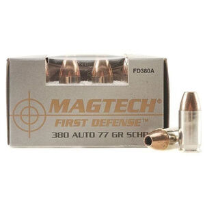Magtech First Defense .380 ACP Ammunition 77 Grains Solid Copper HP