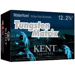 "Kent Cartridge Tungsten Matrix Waterfowl 12 Gauge Ammunition 10 Rounds 2-3/4"" Shell #5 Non-Toxic Lead Free Shot 1-3/8 Ounce 1375 fps"