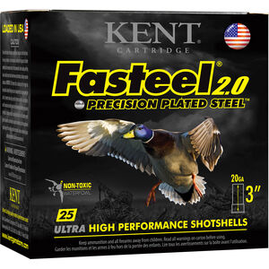 "Kent Cartridge Fasteel 2.0 Waterfowl 20 Gauge Ammunition 3"" Shell #4 Zinc-Plated Steel Shot 7/8oz 1550fps"