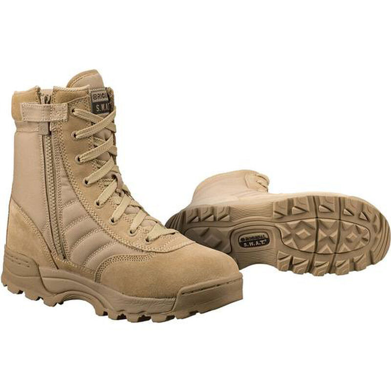 "Original S.W.A.T. Classic 9"" Side Zip Men's Boot Size 12 Regular Non-Marking Sole Leather/Nylon Tan 115202-12"