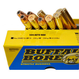 Buffalo Bore .500 Auto Max Ammunition 20 Rounds JHP 350 Grains