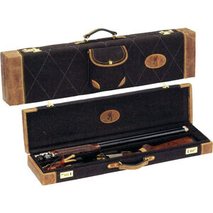 """Browning Lona Canvas/Leather Fitted Over & Under Shotgun Case Fits up to 34"""" Barrels Black/Brown"""
