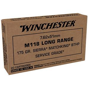 Winchester Service Grade M118 Long Range 7.62 NATO Ammunition 20 Rounds 175 Grain Sierra MatchKing Boat Tail Hollow Point