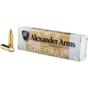 Alexander Arms .50 Beowulf Ammunition 20 Rounds 350 Grain Brass Spitzer 1661fps