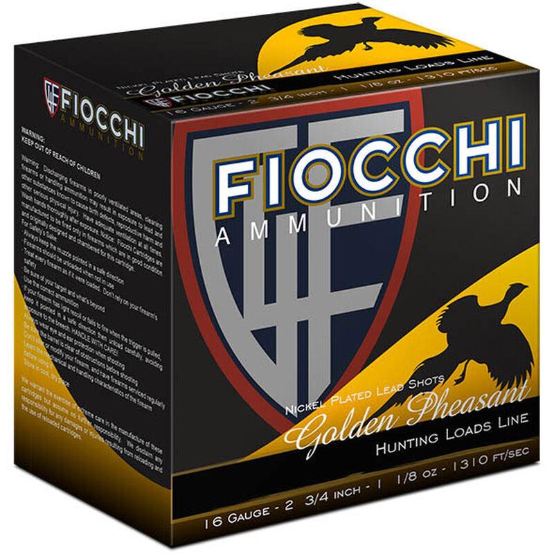"Fiocchi Golden Pheasant 16 Gauge Ammunition 250 Rounds 2-3/4"" #6 Shot 1-1/8oz Nickel Plated Lead 1310fps"