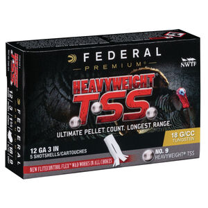 "Federal Heavyweight TSS 12 Gauge Ammunition 5 Rounds 3"" #9 Tungsten Shot 1-3/4 Ounce 1200fps"