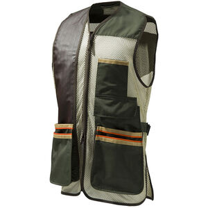 Beretta USA Two-Tone Vest 2.0 Cotton and Mesh Panels Faux Leather Shooting Patch Medium Olive Green