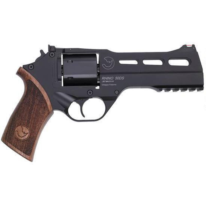 """Chiappa Rhino 50DS Double Action Revolver 9mm Luger 5"""" Barrel 6 Rounds Aluminum Alloy Frame Wood Grips Matte Black"""